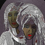065 - White Veiled Ladies   Art Print by Irmgard Schoendorf Welch