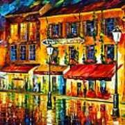 Paris Night Montmartre Art Print