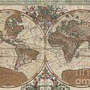 1691 Sanson Map Of The World On Hemisphere Projection Print by Paul Fearn