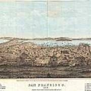 1856 Henry Bill Map And View Of San Francisco California Art Print