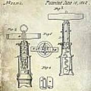 1862 Corkscrew Patent Drawing Art Print