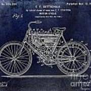 1901 Motorcycle Patent Drawing Blue Art Print