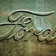 1912 Ford Hood Ornament - Emblem -0496bw Art Print