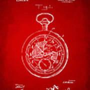 1916 Pocket Watch Patent Red Art Print