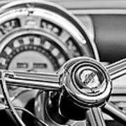 1949 Chrysler Town And Country Convertible Steering Wheel Emblem Art Print