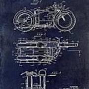 1950 Motorcycle Patent Drawing Blue Art Print