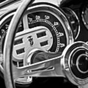 1953 Fiat 8v Ghia Supersonic Steering Wheel Art Print