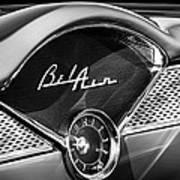 1955 Chevrolet Belair Dashboard Emblem Clock Art Print