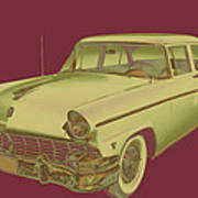 1956 Ford Custom Line Antique Car Pop Art Art Print