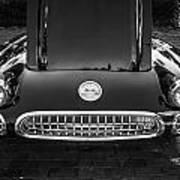 1959 Chevy Corvette Convertible Bw  Art Print