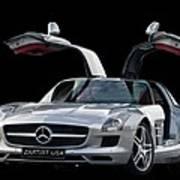 Mercedes Benz S L S  Gull-wing Art Print