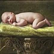 A Baby Asleep On A Pillar Art Print