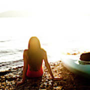 A Beautiful Young Woman Relaxes Art Print