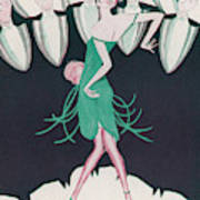 A Flapper In A Green Dress  Dances Art Print