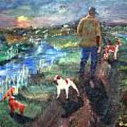 A Man And His Dogs Art Print