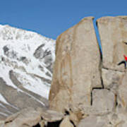 A Man Sport Climbs In Bishop Art Print