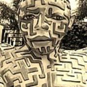 1 A Maze Ing Man Sepia Art Print