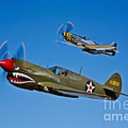 A P-40e Warhawk And A P-51d Mustang Art Print