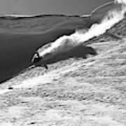 A Snowmobiler Jumping Off A Cornice Art Print