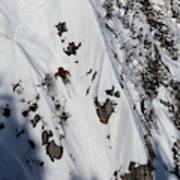 A Telemark Skier In A Narrow Chute Art Print