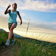 A Woman Trail Running Near Boulder, Co Art Print