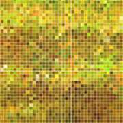 Abstract Vector Square Pixel Mosaic Art Print