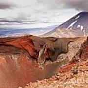 Active Volcanoe Cone Of Mt Ngauruhoe New Zealand Art Print
