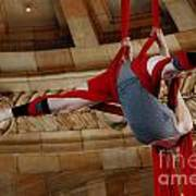 Aerial Ribbon Performer At Pennsylvanian Grand Rotunda Art Print