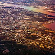 Aerial View Of Riga. Latvia. Rainbow Earth Art Print by Jenny Rainbow