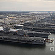Aircraft Carriers In Port At Naval Art Print