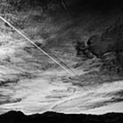 Aircraft Contrail With Shadow On Lower Cloud Nevada Usa Art Print