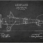 Airplane Patent Drawing From 1918 Art Print