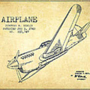 Airplane Patent Drawing From 1943-vintage Art Print