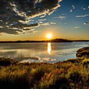 Alaskan Midnight Sun Over The Lake Art Print