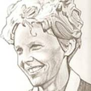 Amelia Earhart Drawing Art Print