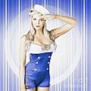 American Pinup Poster Girl In Military Uniform Art Print