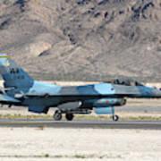 An F-16c Aggressor Jet Landing Art Print