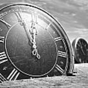 Antique Clocks In The Desert Sand Art Print