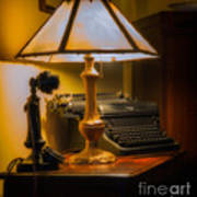 Antique Lamp Typewriter And Phone Art Print