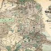 Antique Map Of City And County Of San Francisco Art Print
