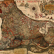 Antique Map Of Leo Belgicus 1630 Art Print