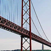 April Bridge In Lisbon Art Print