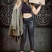 Army Pinup Girl At Rifle Range. Bullet Proof Art Print