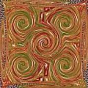Artistic Embossed Twirl Decoration Chakra Style Unique Signature Navinjoshi Artist Created Images Te Art Print