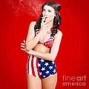 Attractive Usa Pinup Woman Smoking Art Print