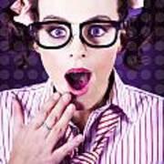 Attractive Young Nerd Girl With Surprised Look Art Print