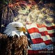 Bald Eagle And Fireworks Art Print by Michael Shake