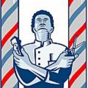 Barber With Pole Hair Clipper And Scissors Retro Art Print by Aloysius Patrimonio