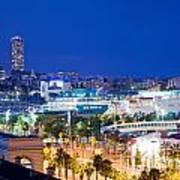 Barcelona And Its Skyline At Night Art Print