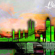 Barcelona Spain Skyline Watercolor Art Print